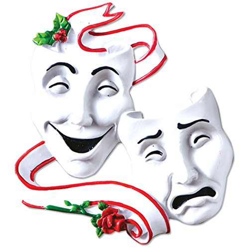 Personalized Theater Masks Christmas Tree Ornament 2019 - Comedy and Tragedy with Red Roses Drama Broadway Show Play Profession Master Hobby Radio Television TV Art Gift Year - Free Customization (Best Comedies Of 2019 And 2019)