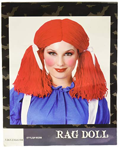 Charades Women's Rag Doll Wig, red, One Size