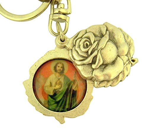 (Religious Gifts Silver Tone Saint Jude with Our Lady of Guadalupe Sliding Rosebud Medal Key Chain, 1 3/4 Inch)