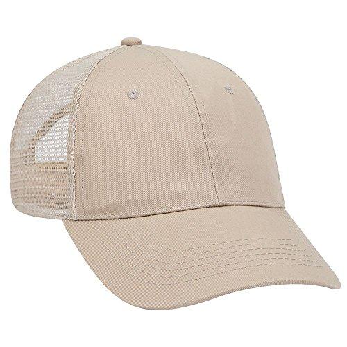 OTTO Promo Cotton Blend Twill 6 Panel Low Profile Mesh Back Trucker Hat - Khaki