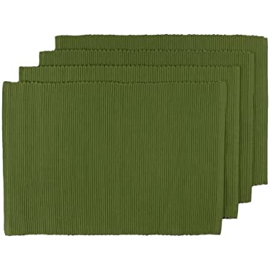 Now Designs Spectrum Basic Cotton Placemats, Set of Four, Fir Green