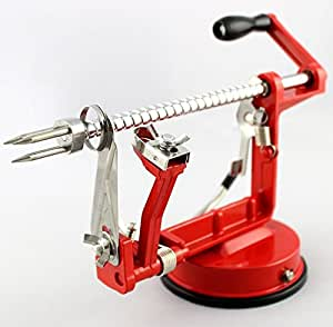 Annic Creative Apple and Potato Peeler ,Slicer and Corer, Suction Base, Automatic Fruit Peeler, Multi-functional Apple Peeler, Peeling, Slicing and Coring (Red)