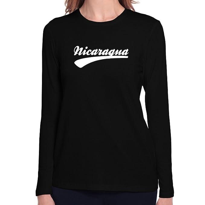 Teeburon Nicaragua baseball font Camiseta manga larga mujer: Amazon.es: Ropa y accesorios