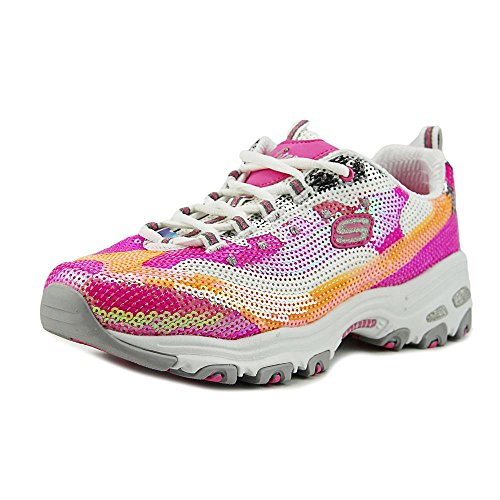 Skechers Sport Women's D'Lites Made to Shine Fashion Sneaker, Pink/White, 9 M US