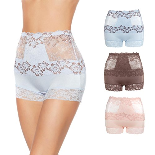 Ahh By Rhonda Shear 3-Pack Pin up Lace Panties (Soft Romance, L)
