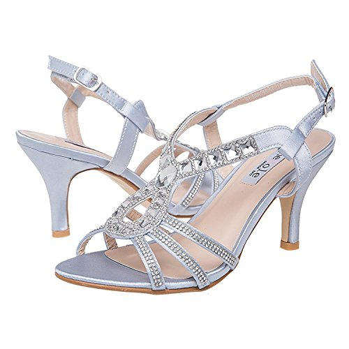 Sandal Dress Evening Womens Low Shoes Lara's Heels Silver Wedding qUFtxE5nR