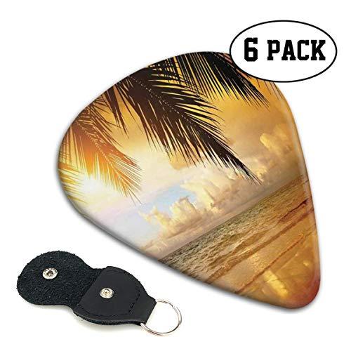 Guitar Picks 6 pcs,Sunset On The Beach Of Caribbean Sea Waves Coast With Palm Tree