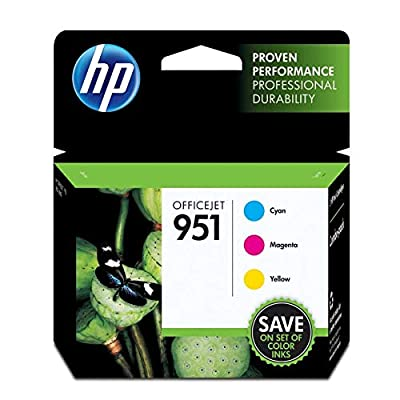 HP 951 Ink Cartridges, Cyan/Magenta/Yellow, 3-Pack (CR314FN)