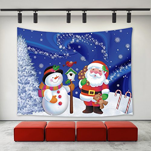 LBKT Xmas Christmas Day Decoration Tapestry Wall Hanging,Custom Christmas Snowman Santa Claus Winter Snowflakes Tree Pattern Wall Tapestry Tapestries for Bedroom Living Room Dorm Home Decor 90