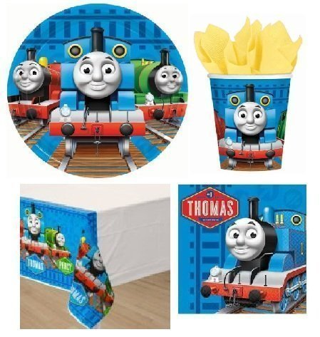 Thomas the Tank Engine Train Party Pack for 16 by BirthdayExpress (Thomas The Train Table Cloth)