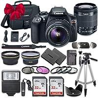 Canon EOS Rebel T6 DSLR paquete de cámara con Canon EF-S 18-55mm f /3.5-5.6 IS II Lente + 2pieza SanDisk 32GB Tarjetas de memoria + Kit de accesorios