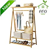 Bamboo Garment Coat Clothes Hanging Heavy Duty Rack with top shelf and 2-tier Shoe Clothing Storage Organizer Shelves
