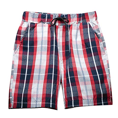 Men Short Pants Summer Beach Plaid Shorts Lattice Surfing Short Trousers Leisure Wide Sport Loose Beachwear by Lowprofile Red