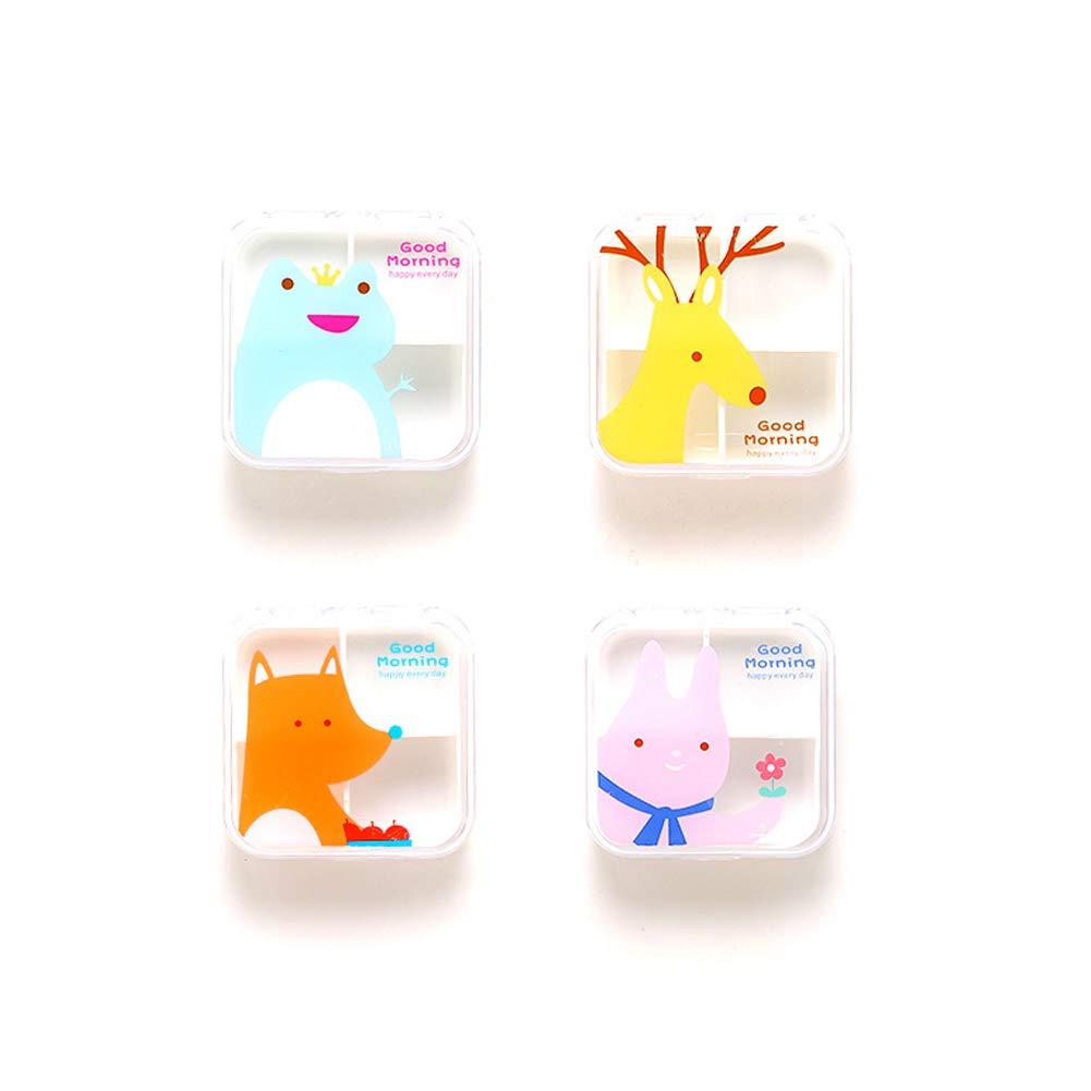 kakakooo 1Pc Tiermuster tragbare Cartoon Travel 4 Fach Medizin Drug Box Fach Medizin Drug Box Pill Camping Tagesgeldbörse oder Tasche Zufall