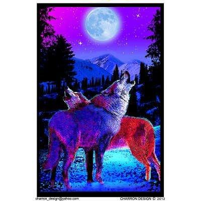Timberwolves Flocked Blacklight Poster