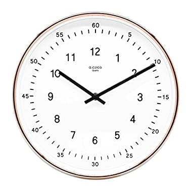 A.Cerco Non Ticking Silent Metal Wall Clock - 11  Two Tone Copper