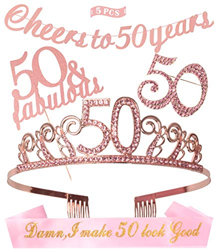 50th Birthday Decorations Party Supplies | Gold 50th Birthday Tiara | 50th White Satin Sash Damn I make 50 look good | Gold Glittery Cheers to 50 Years Banner | (50th Birthday Sashes And Tiaras)