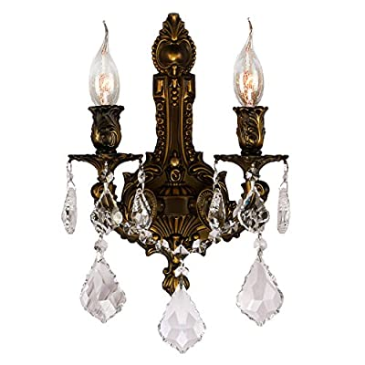 "Worldwide Lighting W23314B12 Versailles Collection 2 Light Antique Bronze Finish Crystal Wall Sconce 12"" W x 13"" H Medium Traditional Versailles Collection 2 Light Crystal Wall Sconce, 12"" W x 13"" H Medium"