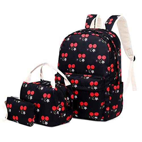 4 Piece Cherry Girl - FLYMEI Backpack for Teen Girl, Daypack for Female, Lightweight School Backpack for Travel, Cute Cherry Backpack, Waterproof Backpack for Girl