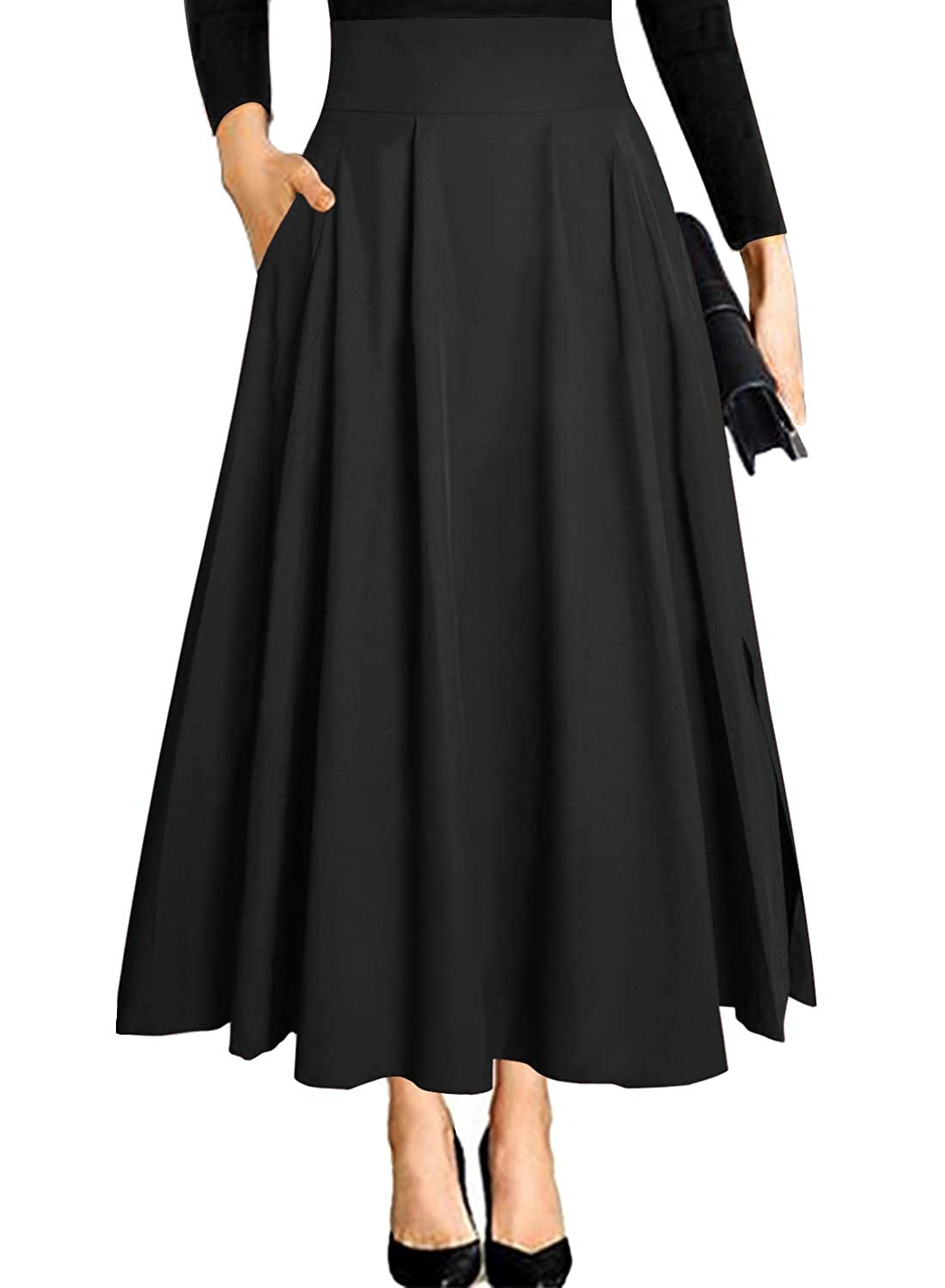 1950s Swing Skirt, Poodle Skirt, Pencil Skirts Ranphee Womens Ankle Length High Waist A-line Flowy Long Maxi Skirt with Pockets $25.99 AT vintagedancer.com
