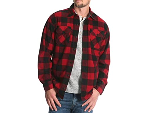 56fc4f4e476 Image Unavailable. Image not available for. Color  Wrangler Mens Long  Sleeve Fleece Flannel Shirt ...