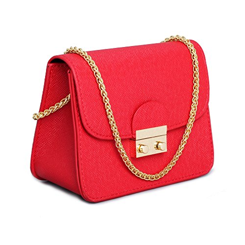Leather Small Cross Body Purse Crossbody Bag Black Red Evening Party Wedding Clutches Shoulder Bag ()