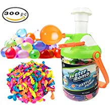 [2-in-1] Fill & Tie Water Balloon Pumping Station with Easy Tie Stick and over 300 Water Bombs for Kids
