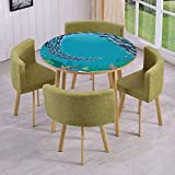 Round Table/Wall/Floor Decal Strikers,Removable,Underwater World with Coral Reef and Tropical Fish Cluster Swimming Cartoon,for Living Room,Kitchens,Office Decoration