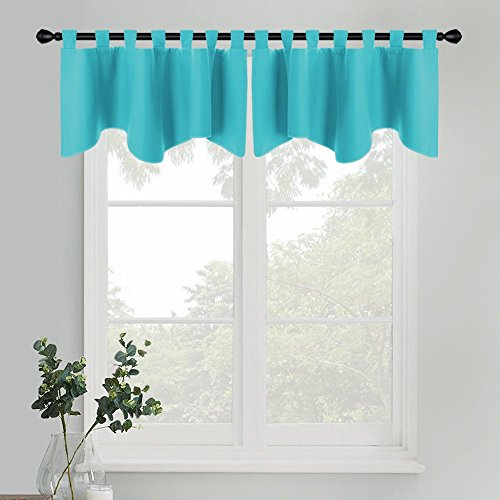 er Valances - Home Decoration Thermal Insulated Room Darkening Drapes for Kitchen Bathroom Bedroom Match Curtain Panels, 52 Wide by 18 inch Long, Turquoise, 2 Pcs ()