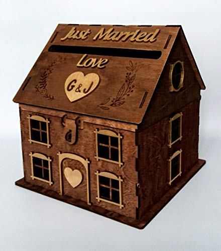 Amazon Com Wood House Wedding Card Box For Reception Just Married
