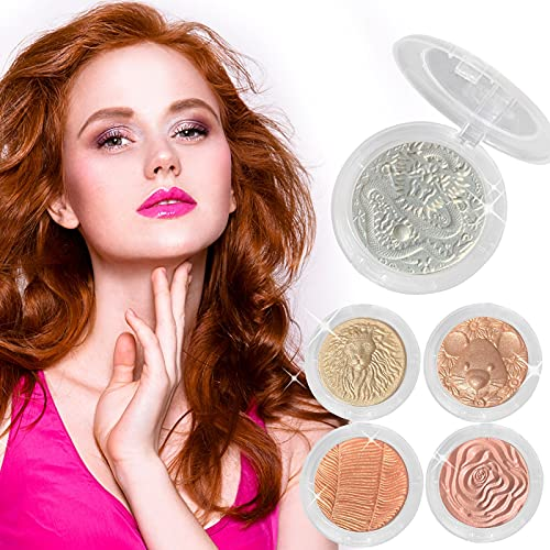 HXS Highlighter for Makeup, Face Shimmer Powder, Highlighters Makeup Palette, Glitter Bling Powder for Face and Body, Smooth Long Lasting Blends Easily Illuminator