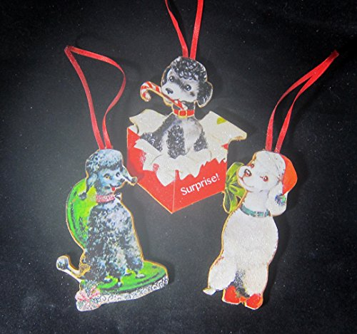 Poodle Collection Christmas Ornaments Handmade Wood Decoration, Veterinarian Present Poodle Owner Gift, Dog Magnets Set, Black White Toy