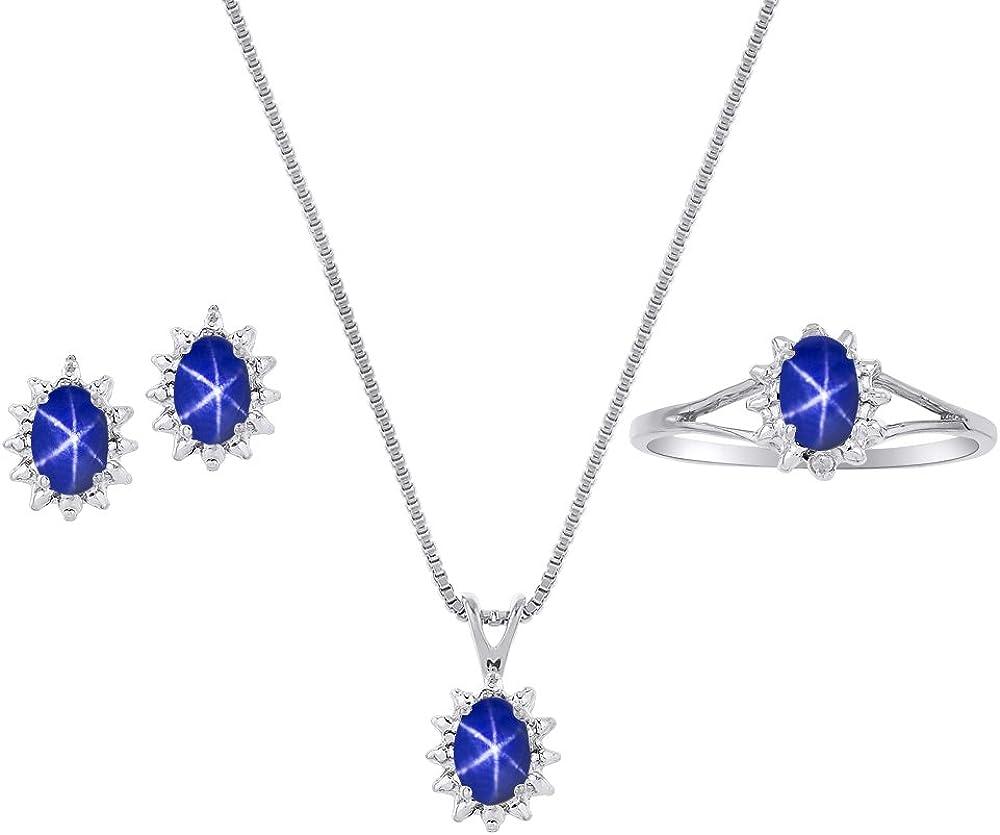 Rylos Diamond & Blue Star Sapphire Set–Anillo, Pendientes & Colgante de Plata Collar o 14K Oro Amarillo Chapado en Plata