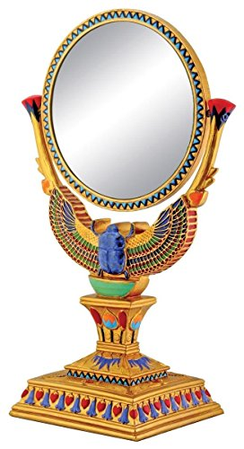 Winged Egyptian Scarab Mirror Collectible Decoration Model