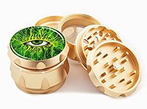 "Green Eye Design Premium Grade Aluminum Tobacco,Herb Grinder -4Pcs Large (2.5"" Gold) # GLD-110514-0034"