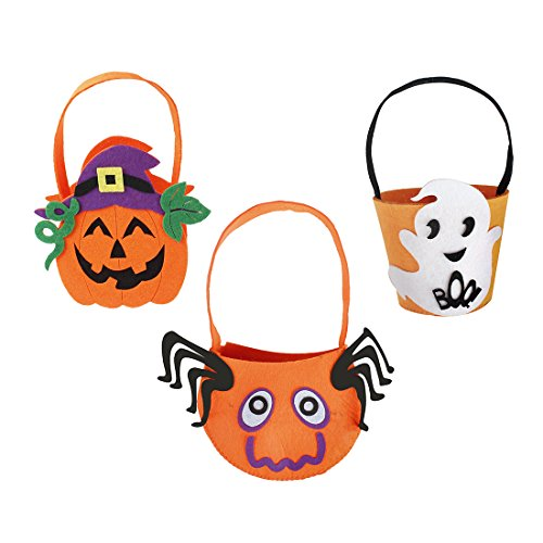 iMucci 3PCS Orange Pumpkin Spider Candy Bag - Lantern Felt Basket Bucket For Kids Trick or Treat