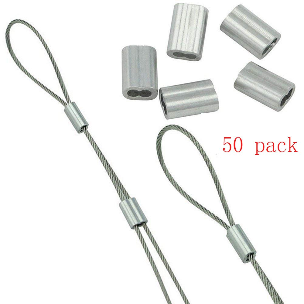 Welldoit 50 Pcs Wire Rope Aluminium Sleeve Wire Rope Swage Clip (M4)