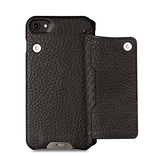 Vaja Niko Wallet Leather Case for iPhone 7 - Folio style - Back Credit Card pocket with Magnetic Closure - Floater Black by Vaja