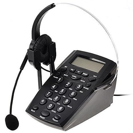 Teléfono eDealMax RJ11 6P4C Call Center tecla del teclado del cojín Headset w Línea telefónica