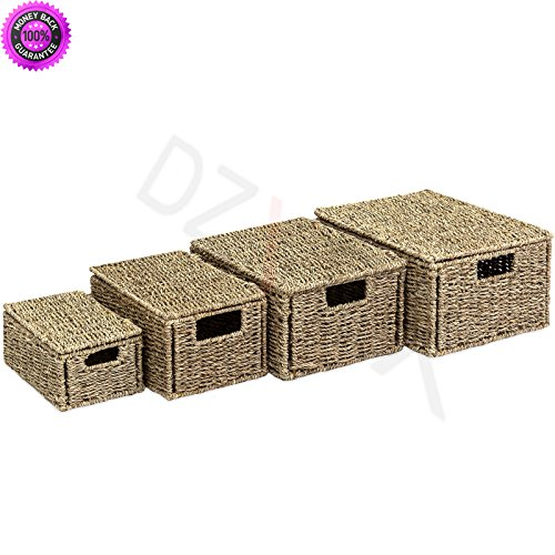 Furniture Seagrass Patio (DzVeX 4 Multi-Purpose Woven Seagrass Storage Box Baskets for Home Decor Organization And patio furniture home depot patio furniture lowes patio furniture target small patio furniture patio furnitu)