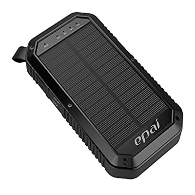 Solar Charger, Epai 8000mAh Portable Solar Power Bank Waterproof 3-Port USB Solar Panel Charger With 21LED Light Carabiner For Emergency Outdoor Camping for cell phone,iPhone,iPad, Android phones