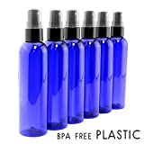 plastic 4oz Cobalt Blue Empty Plastic Refillable PET Spray Bottles w/ Fine Mist Atomizer Caps (6-pack); Sprayers for DIY Home Cleaning, Aromatherapy, Travel, On-the-Go & Beauty Care (4 ounce, Cobalt Blue, 6)