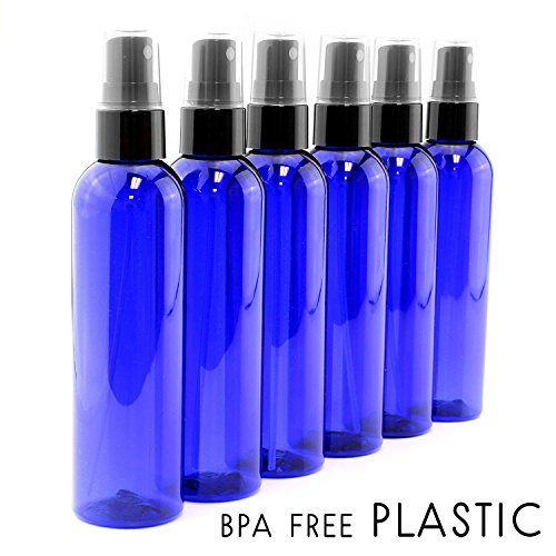 4oz Cobalt Blue Empty Plastic Refillable PET Spray Bottles w/ Fine Mist Atomizer Caps (6-pack); Sprayers for DIY Home Cleaning, Aromatherapy, Travel, On-the-Go & Beauty Care (4 ounce, Cobalt Blue, 6) -