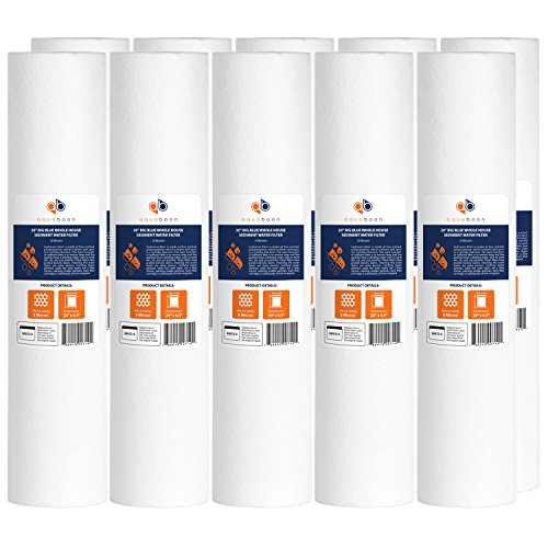 10-PACK Of 1µm Big Blue 20''x4.5'' Sediment Water Filter Cartridge for Whole House by Aquaboon by Aquaboon