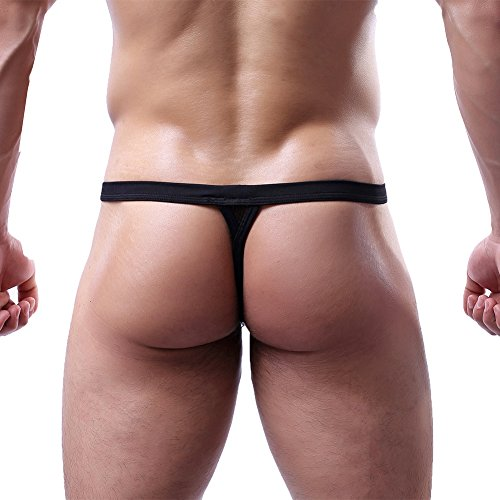 MyCHIC Men's Sexy G-String Thong T-Back Underwear Low Rise Pouch Briefs Bikini (Black, - Black G-string