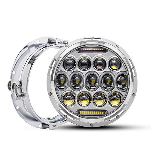 QUAKEWORLD Motorcycle 7 Inch LED Headlight Replacement With Headlight Trim Ring for Harley Davidson Adaptive LED Headlamp Chrome | Also Fits Jeep Wrangler