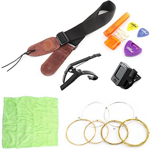 DealMux Guitar Nylon Strap Capo Tuner String Winder Picks Pick Holder Cleaning Cloth Bridge Pins Kit 20 in 1
