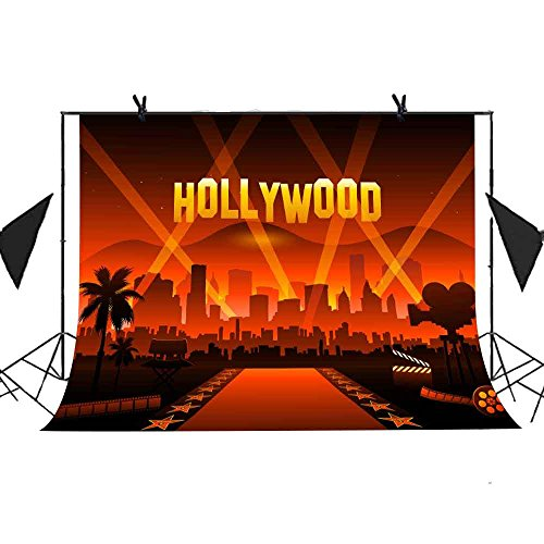 MEETS 10x7ft Famous City Buildings Backdrop Hollywood City Night Scene Carpet Background Photo Booth Studio Props Theme Party YouTube Backdrop (Hollywood Night Scene)