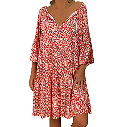 Price comparison product image Bigfanshu Womens Summer V Neck Dress Bikini Cover Up Beach Pocky Dot Dresses Red