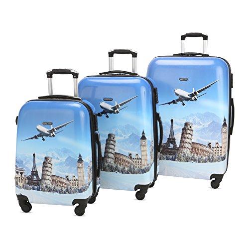 3 PC Luggage Set Durable Lightweight Hard Case pinner Suitecase LUG3 PC01 City Sky